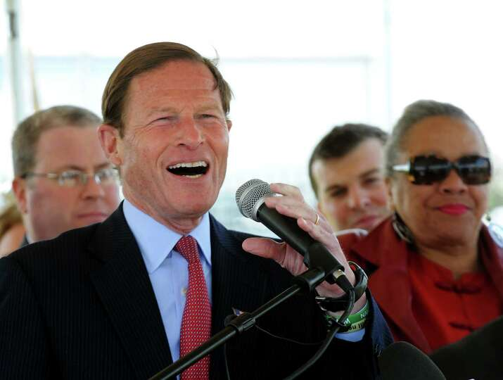 Senator Richard Blumenthal addresses the crowd at the groundbreaking ceremony at the Steel Point pen