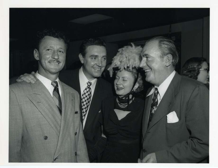 03/17/1949 - (L-R): Houston oilman Glenn McCarthy, actor Robert Paige, Pat Barham and actor Pat O'Brien at Shamrock Hotel grand opening festivities.