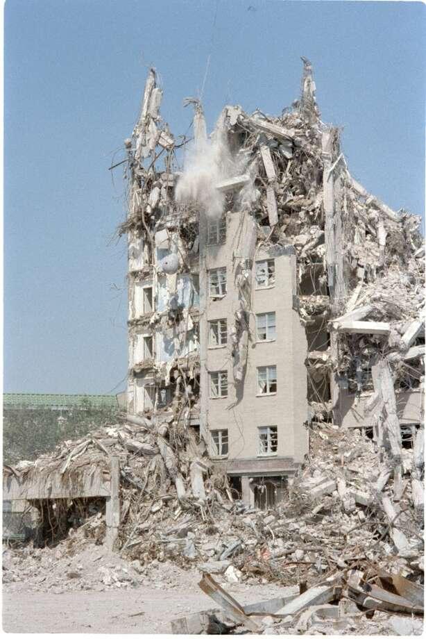 10/13/1987 -- The historic Shamrock Hilton Hotel Houston is demolished.  Paul Howell / Houston Chronicle