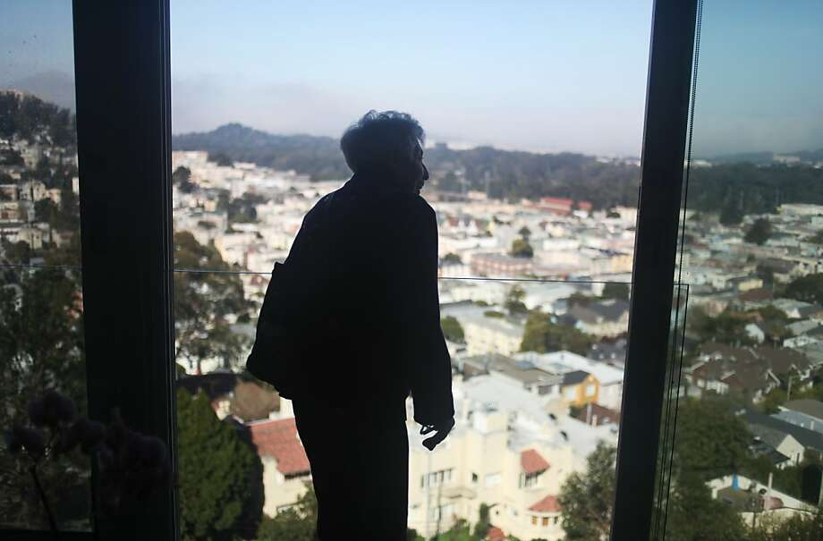 "Adah Bakalinsky, author of ""Stairway Walks in San Francisco,"" admires the view from Mount Olympus. Photo: Pete Kiehart, The Chronicle"