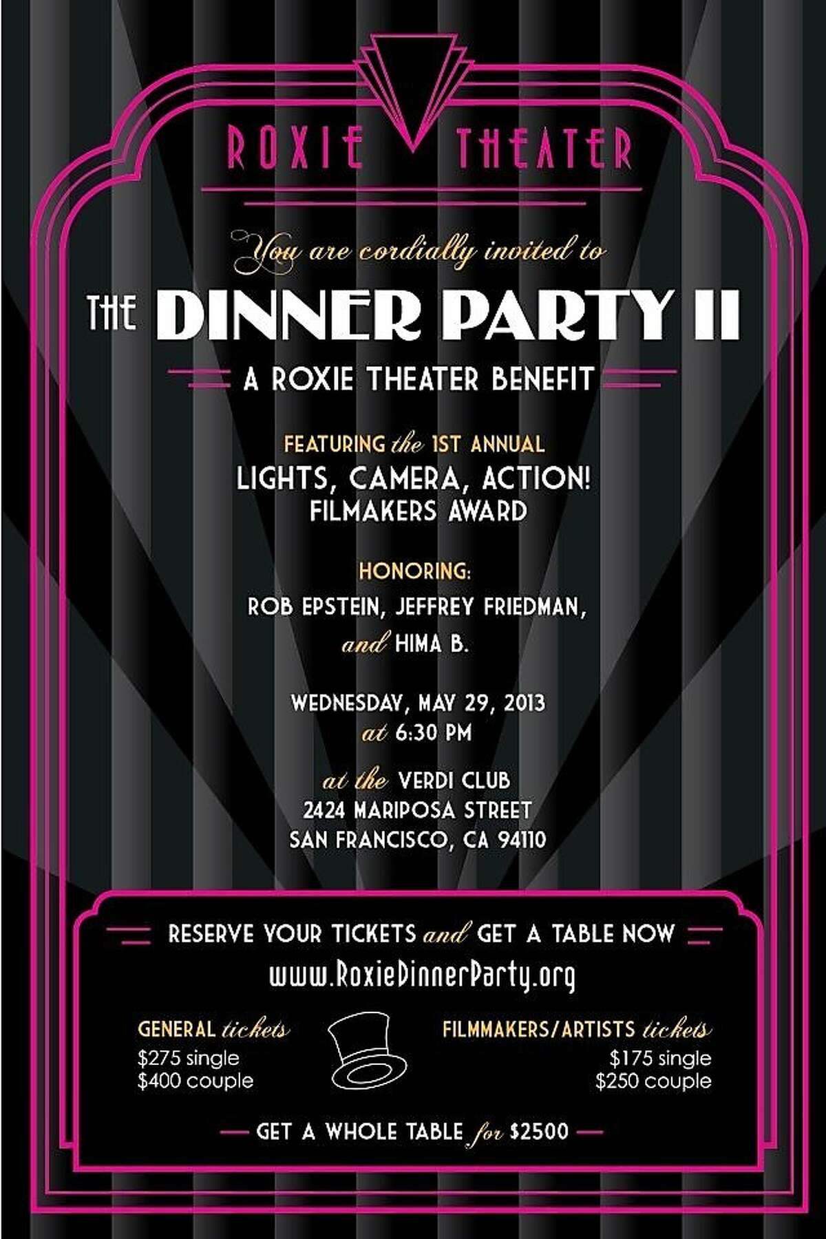 The Roxie Theater holds its second dinner party benefit May 29 at the Verdi Clu in San Francisco.