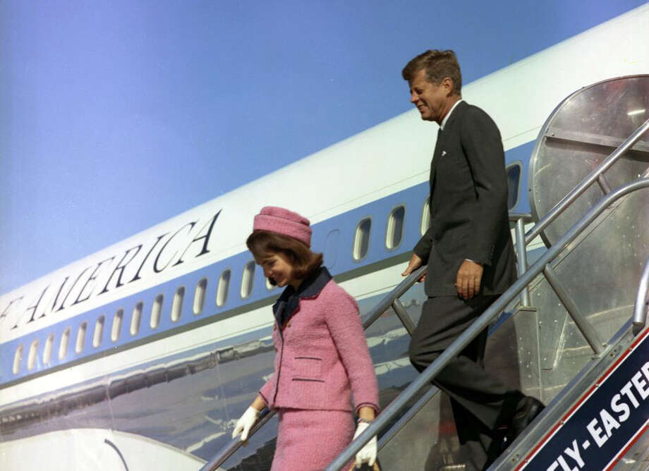 President Kennedy and First Lady Jacqueline Kennedy descend the stairs from Air Force One at Love Field, Dallas, Texas, on Nov. 22, 1963. President Kennedy was assassinated later that day. Photo: Cecil Stoughton, White House Photographs, John F. Kennedy Presidential Library And Museum, Boston