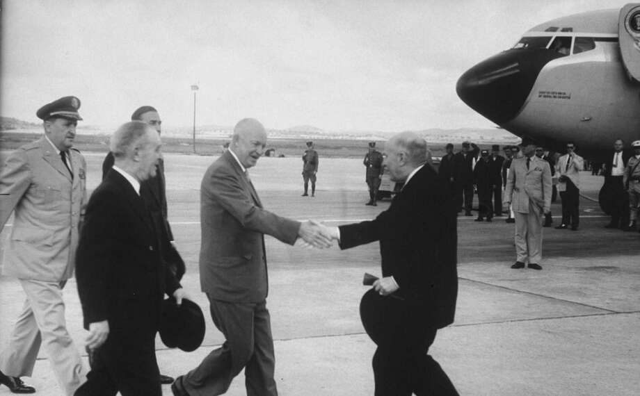 President Dwight D. Eisenhower became the first president to travel by jet. Here, he greets Portuguese President Americo R. Tomas in Lisbon in 1960. Photo: Ed Clark, Time & Life Pictures/Getty Image / Time Life Pictures