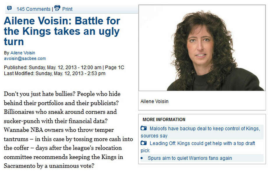The Sacramento Bee: Ailene VoisinSac Bee columnist Ailene Voisin came right out and said it: ''Don't you just hate bullies? People who hide behind their portfolios and their publicists? Billionaires who sneak around corners and sucker-punch with their financial data?'' Yeah, she was talking about Hansen. ''What do you tell the kids?'' Voisin asked.