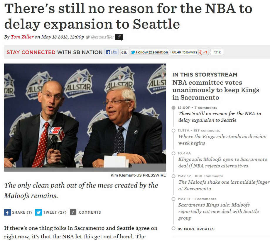 SB NationOn the main SB Nation website, NBA writer Tom Ziller wondered whether league expansion could still be an option to make both cities happy. Ziller wrote: ''If there's one thing folks in Sacramento and Seattle agree on right now, it's that the NBA let this get out of hand.''
