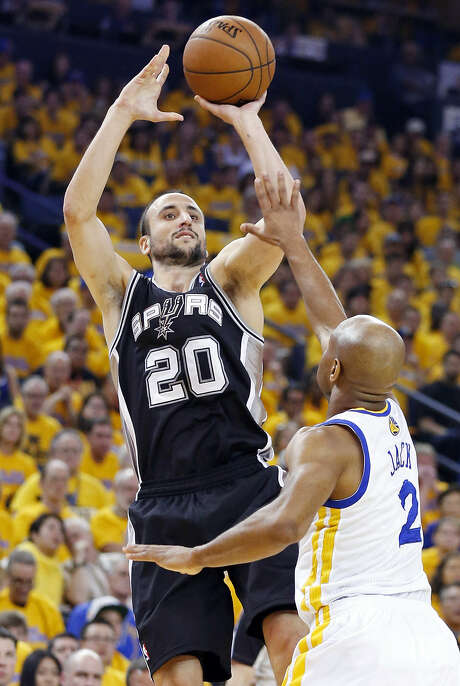 Spurs guard Manu Ginobili has struggled with erratic shooting in the Western Conference semifinal series with the Warriors, making only 36 percent, including 9 of 33 on 3-pointers. Photo: Edward A. Ornelas / San Antonio Express-News