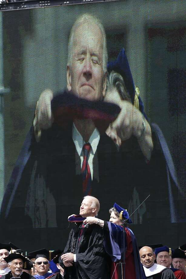 Vice President Joe Biden receives an honorary degree during the University of Pennsylvania's 257th Commencement, Monday, May 13, 2013, in Philadelphia. (AP Photo/Matt Rourke) Photo: Matt Rourke, Associated Press