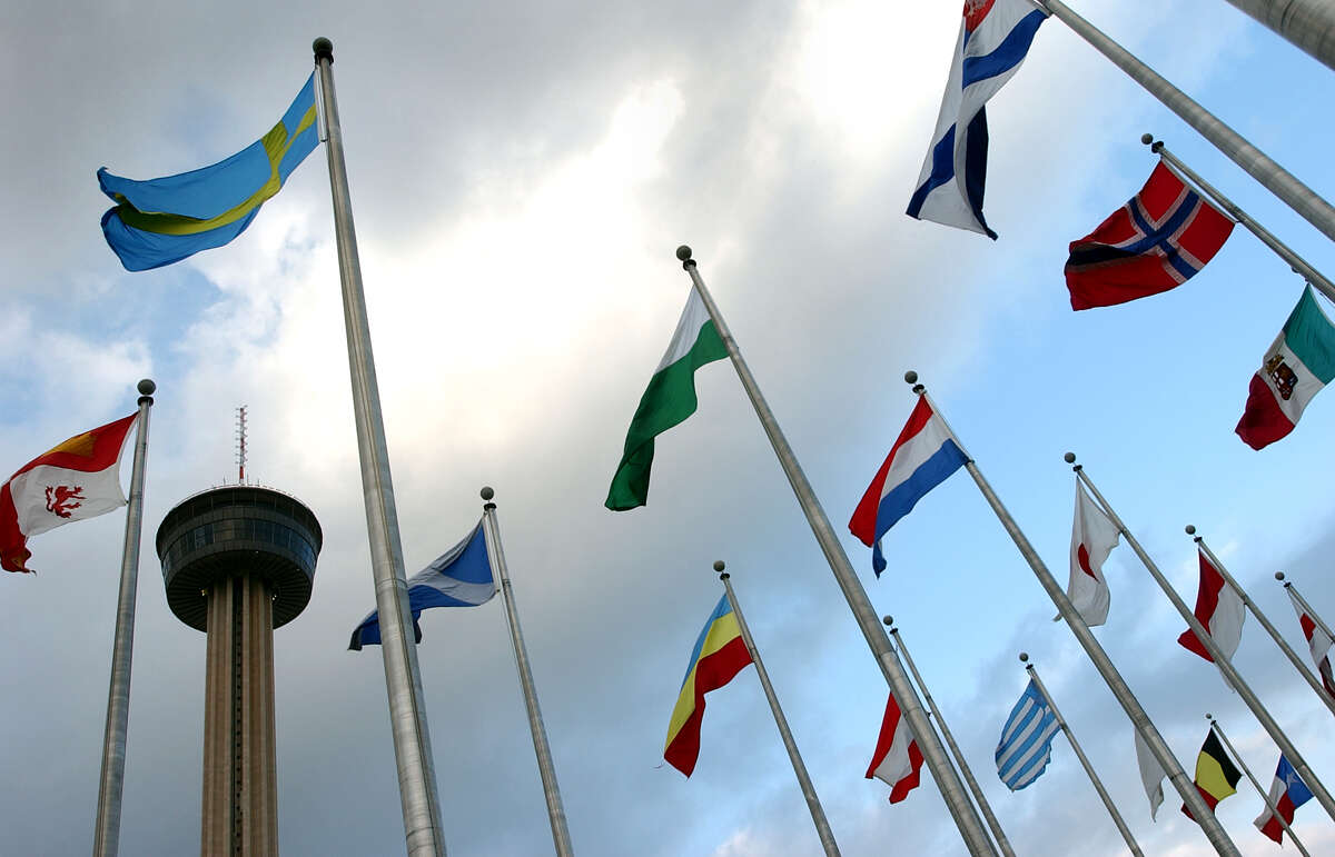 The flags displayed at the Institute of Texan Cultures are a reminder of the Alamo City's international reach. Here's a list of San Antonio's Sister Cities.SOURCE: City of San Antonio International Relations Office