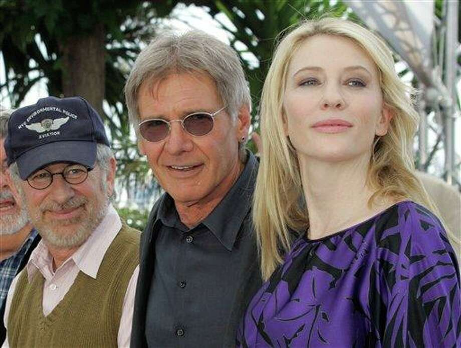 "From left, American director Steven Spielberg, American actor Harrison Ford and Australian actress Cate Blanchett pose for photographers at the ""Indiana Jones and the Kingdom of the Crystal Skull"" photo call during the 61st International film festival in Cannes, southern France, on Sunday, May 18, 2008. Photo: Lionel Cironneau, ASSOCIATED PRESS / AP2008"