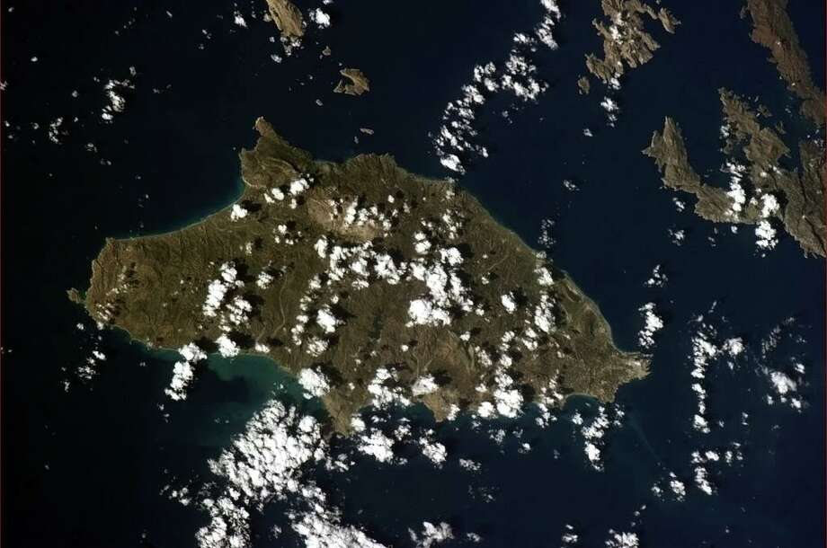 Island of Rhodes, Greece - interesting that from space, you can see where the Colossus of Rhodes stood 2300 years ago. Photo: Col. Chris Hadfield/CSA/NASA