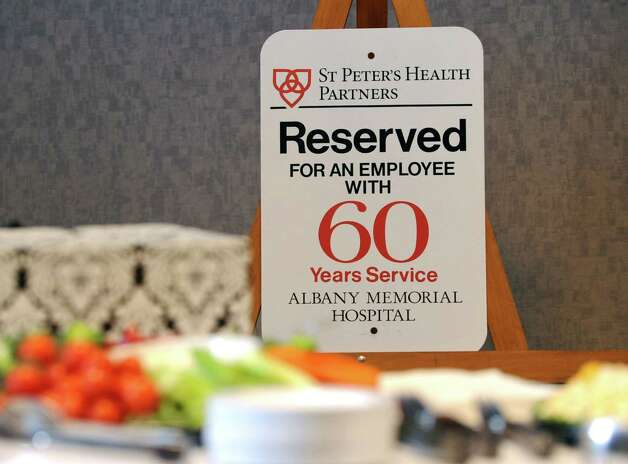 Parking spot sign for 80-year-old nurse Esther Rappold who was recognized for 60 years of work at Albany Memorial Hospital on Monday, May 13, 2013 in Albany, N.Y. (Lori Van Buren / Times Union) Photo: Lori Van Buren / 00022369A