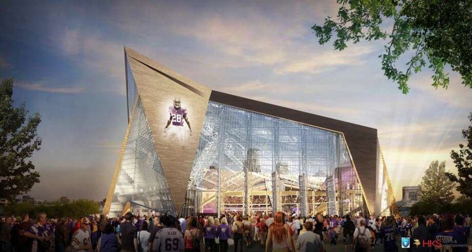 This handout released by the Minnesota Sports Facilities Authority and the Minnesota Vikings shows the new Vikings stadium in this rendering done by HKS Sports and Entertainment Group. Photo: HKS