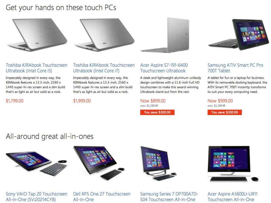 Microsoft's online store has a good selection of touchscreen notebooks and desktops, and they come with minimal crapware.