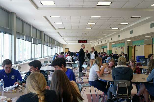 The current cafeteria at Fairfield Ludlowe High School would be enlarged under proposed renovation plans. Photo: Genevieve Reilly / Fairfield Citizen