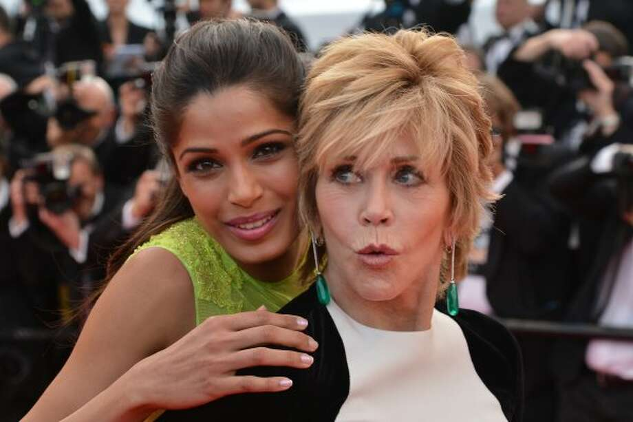 Freida Pinto and Jane Fonda attend the 'De Rouille et D'os' Premiere during the 65th Annual Cannes Film Festival at the Palais des Festivals on May 17, 2012 in Cannes, France. Photo: Mike Marsland, WireImage