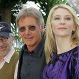 "From left, American director Steven Spielberg, American actor Harrison Ford and Australian actress Cate Blanchett pose for photographers at the ""Indiana Jones and the Kingdom of the Crystal Skull"" photo call during the 61st International film festival in Cannes, southern France, on Sunday, May 18, 2008."