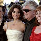 "From left, Spanish actress Blanca Portillo, Spanish actress Penelope Cruz, Spanish director Pedro Almodovar, and Spanish actress Carmen Maura arrive for the screening of the film ""Volver,"" at the 59th International film festival in Cannes, southern France, on Friday, May 19, 2006."