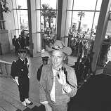 "American director-actor Dennis Hopper arrives at the Festival Palace to present ""Tracks"" at Cannes International Film Festival in Cannes, France, May 17, 1976."