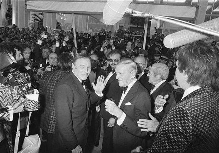 """Gene Kelly and Fred Astaire arrive at the Festival Palace for the presentation of """"That's Entertainment, Part 2"""" which opened the 30th Cannes International Film Festival in Cannes, France, May 13, 1976. Photo: Jean-Jacques Levy, ASSOCIATED PRESS / AP1976"""