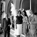 Film actress Sophia Loren, President of the Cannes Film Festival Jury, right, poses with Begum Aga Khan who she visited at her residence Yakimour, Cannes, May 18, 1966.