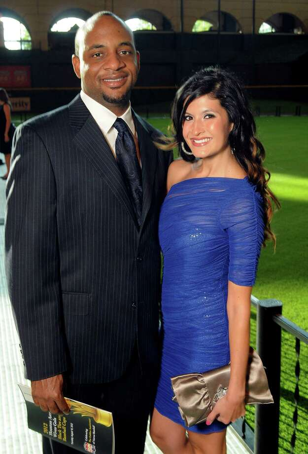 Outfielder Ben Francisco and his wife, Cindy, at the Astros Wives' Gala. Photo: Dave Rossman, For The Houston Chronicle / © 2012 Dave Rossman