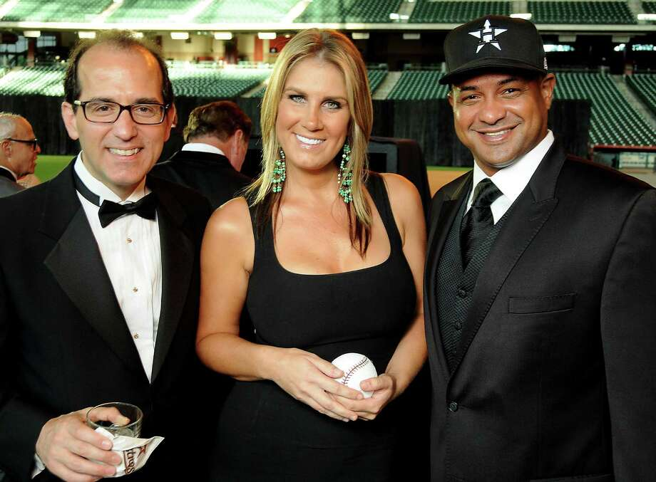 From left: George Postolos, Melissa Lima and Roberto Clemente Jr. at the Astros Wives' Gala. Photo: Dave Rossman, For The Houston Chronicle / © 2012 Dave Rossman