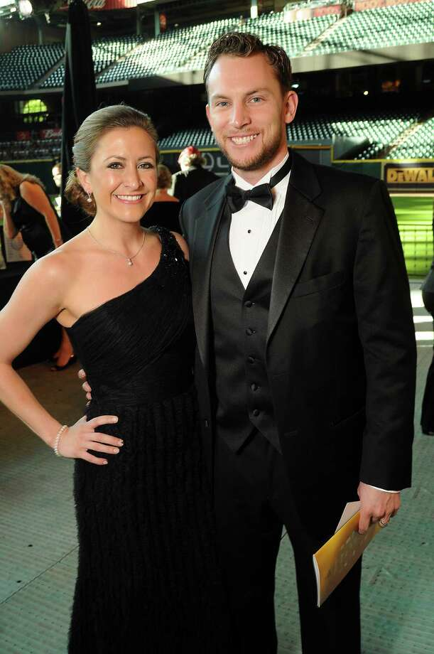 Shortstop Jed Lowrie and his wife, Milessa, at the Astros Wives' Gala. Photo: Dave Rossman, For The Houston Chronicle / © 2012 Dave Rossman
