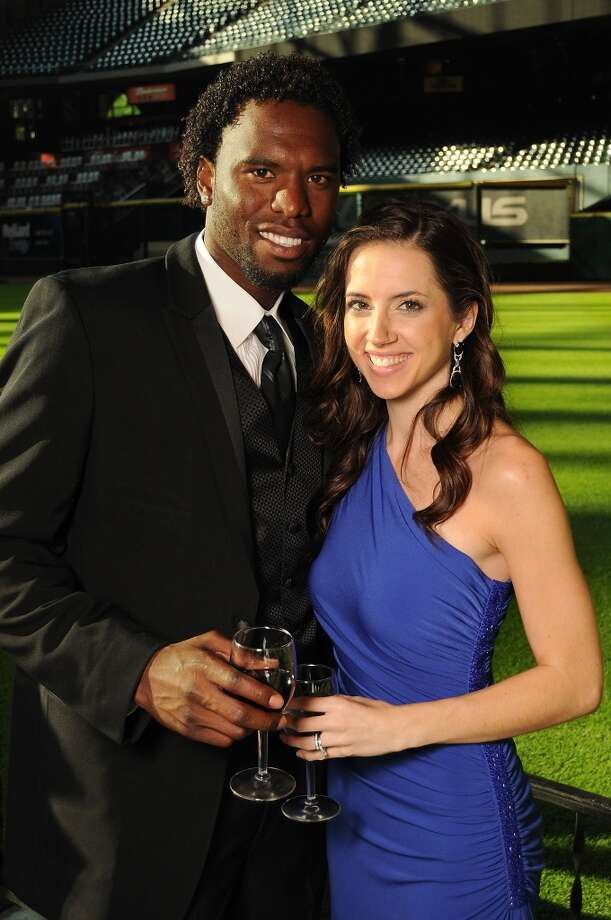 Henry Sosa and his wife Leslie at the Astros Wives Gala at Minute Maid Park.