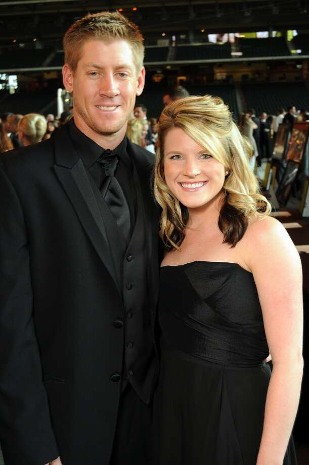 Matt and Leah Downs at the Astros Wives Gala at Minute Maid Park.