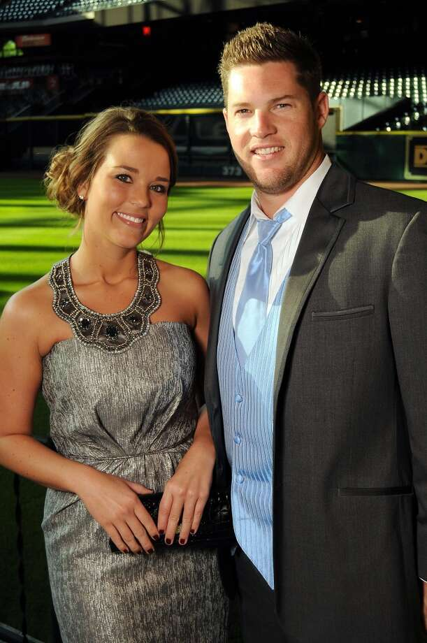 Aubree Gerardi and Bud Norris at the Astros Wives Gala at Minute Maid Park.