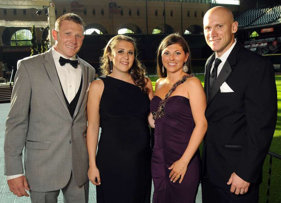 From left: Mark and Mary Katherine Melancon with Summer and Clint Barmes at the Astros Wives Gala at Minute Maid Park.