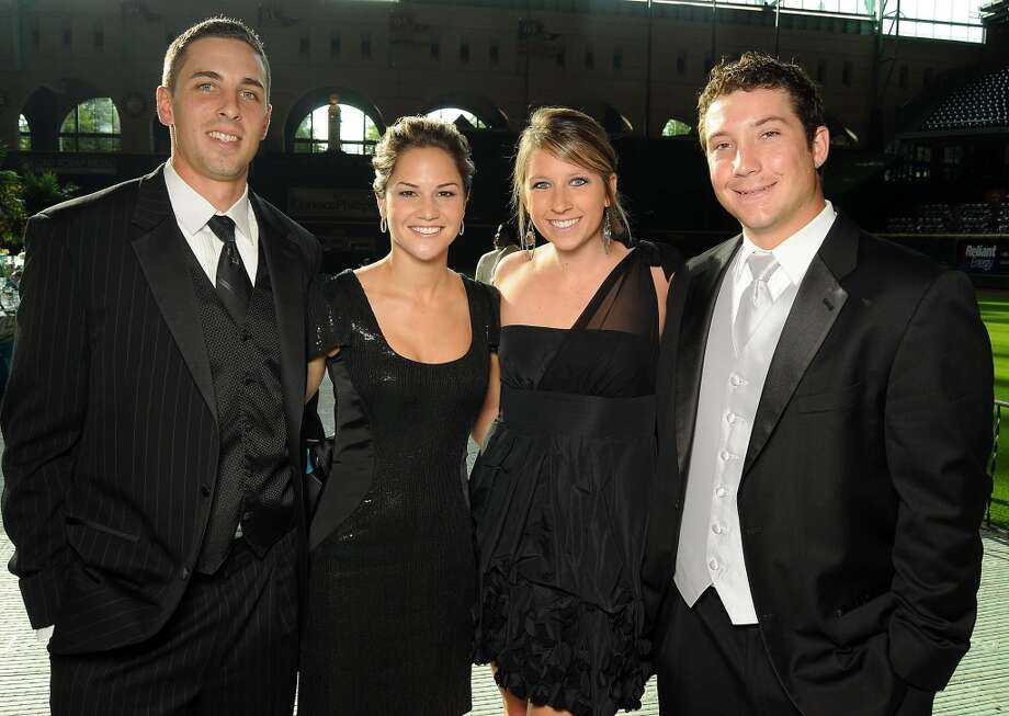 From left: Jason Castro and Maris Perlman with Taylar Sullivan and Brett Wallace at the annual Astros Wives Gala at Minute Maid Park.