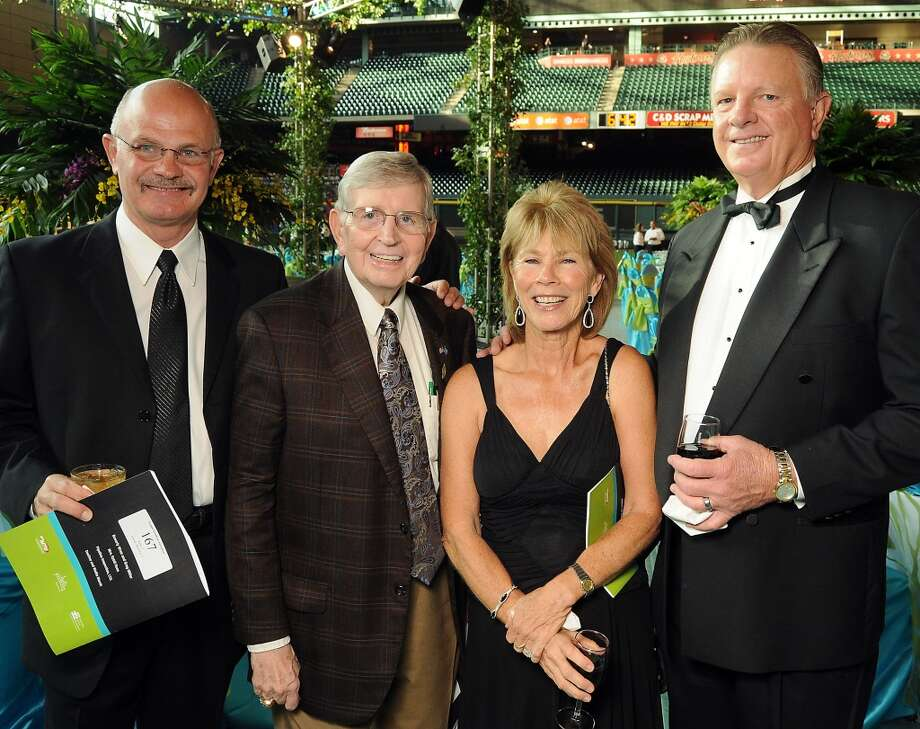 From left: Logan Goosdon and Milo Hamilton with Judy and Larry Dierker at the annual Astros Wives Gala at Minute Maid Park.