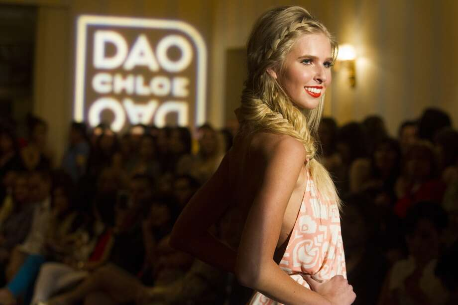 A model walks the runway for Chloe Dao's spring fashion show at the Hess Club.