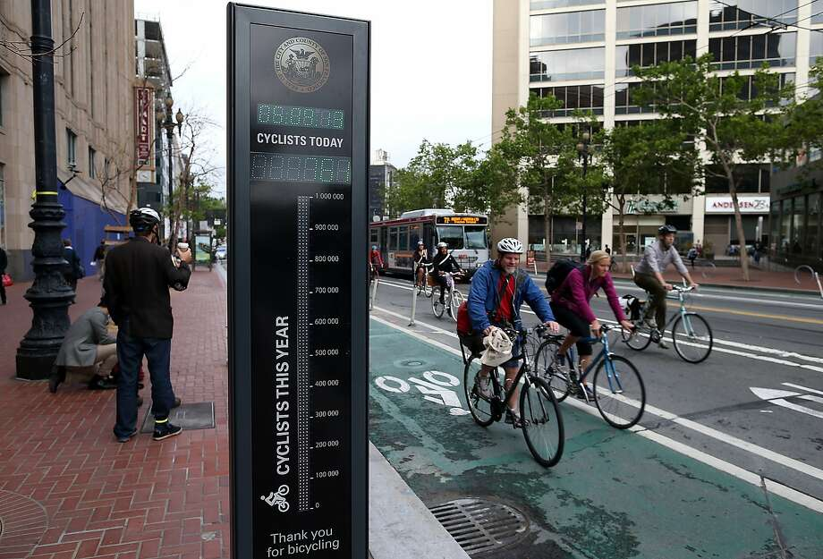 SAN FRANCISCO, CA - MAY 09:  Bicyclists ride by an automated real-time bike counter on Market Street on May 9, 2013 in San Francisco, California. The San Francisco Municipal Transportation Agency has installed an automated real-time bike counter, also known as a bicycle barometer, on Market Street that will display daily and annual counts. According to the SFMTA, the number of cyclists on the streets of San Francisco has surged 71 percent between 2006 and 2011.  (Photo by Justin Sullivan/Getty Images) Photo: Justin Sullivan, Getty Images