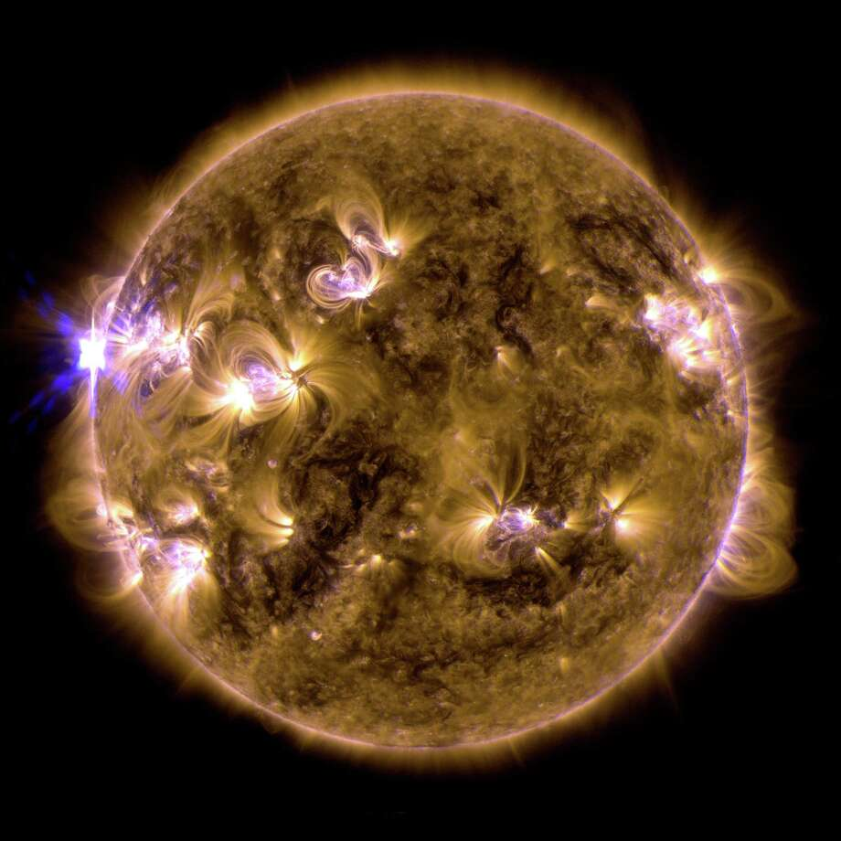 The sun erupted with an X1.7-class solar flare on May 12, 2013. This is a blend of two images of the flare from NASA's Solar Dynamics Observatory: One image shows light in the 171-angstrom wavelength, the other in 131 angstroms. 