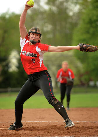 New Canaan pitcher Ali Reilly delivers to the plate during their matchup with Ludlowe in Fairfield, Conn. on Monday, May 13, 2013. Photo: Brian A. Pounds / Connecticut Post