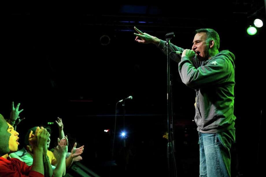 "Dow Constantine gives an enthusiastic ""keep your hopes up"" speech to the crowd during a Bring Our Sonics Back rally and concert Monday, May 13, 2013, at Neumos in Seattle. The free event featured such local hip hop artists as Geo, Grynch, Nacho Picasso and Dyme Def. Photo: JORDAN STEAD, SEATTLEPI.COM / SEATTLEPI.COM"