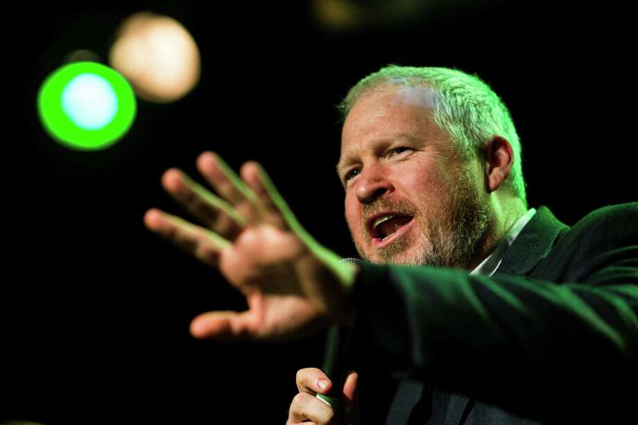 Seattle Mayor Mike McGinn dropped by to address the crowd at a Bring Our Sonics Back rally and concert Monday, May 13, 2013, at Neumos in Seattle. The free event featured such local hip hop artists as Geo, Grynch, Nacho Picasso and Dyme Def. Photo: JORDAN STEAD, SEATTLEPI.COM / SEATTLEPI.COM