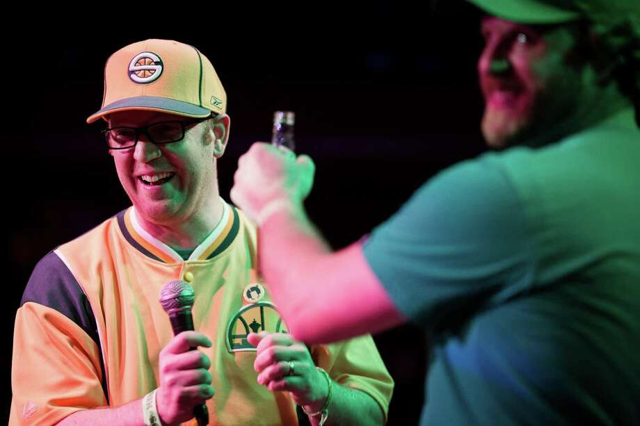 Pro-Sonics speakers address a packed house during a Bring Our Sonics Back rally and concert Monday, May 13, 2013, at Neumos in Seattle. The free event featured such local hip hop artists as Geo, Grynch, Nacho Picasso and Dyme Def. Photo: JORDAN STEAD, SEATTLEPI.COM / SEATTLEPI.COM
