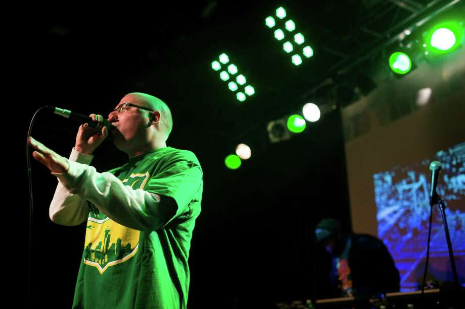 Seattle-local rapper Grynch performs during a Bring Our Sonics Back rally and concert Monday, May 13, 2013, at Neumos in Seattle. The free event featured such local hip hop artists as Geo, Nacho Picasso and Dyme Def. Photo: JORDAN STEAD, SEATTLEPI.COM / SEATTLEPI.COM