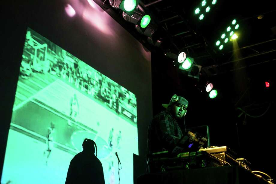 DJ Nphared spins during a Bring Our Sonics Back rally and concert Monday, May 13, 2013, at Neumos in Seattle. The free event featured such local hip hop artists as Geo, Grynch, Nacho Picasso and Dyme Def. Photo: JORDAN STEAD, SEATTLEPI.COM / SEATTLEPI.COM