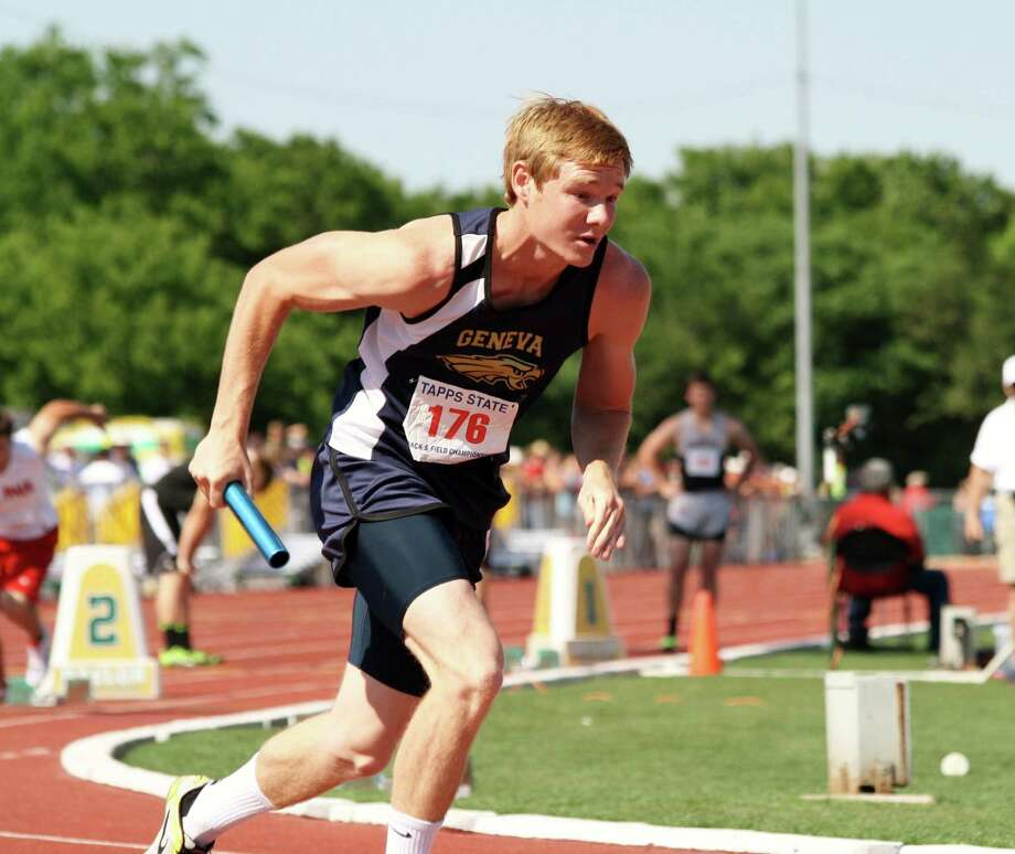 Geneva School of Boerne senior Chris Budde helped his team finish second in the 4x400-meter relay at last week's TAPPS 2A State Track and Field meet in Waco. The Geneva boys placed fifth overall in the Class 2A team standings. Photo: Courtesy Photo