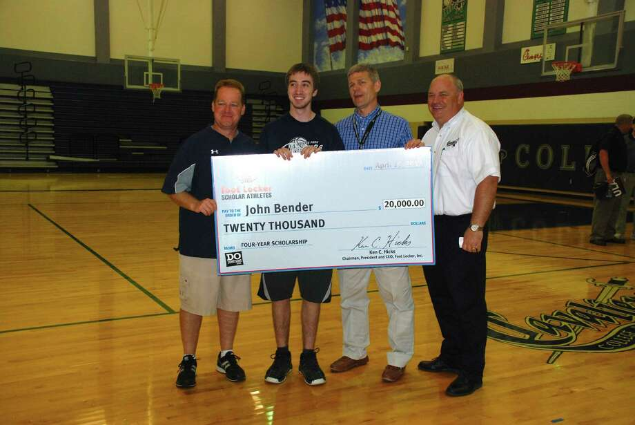 John Bender, a senior at The Woodlands College Park High, received the Foot Locker Scholar Athlete award. At the ceremony were, athletic director Richard Carson, left, Bender, boys basketball coach Clifton McNeely, and principal Mark Murrell. Photo: Lindsay Peyton, Freelance