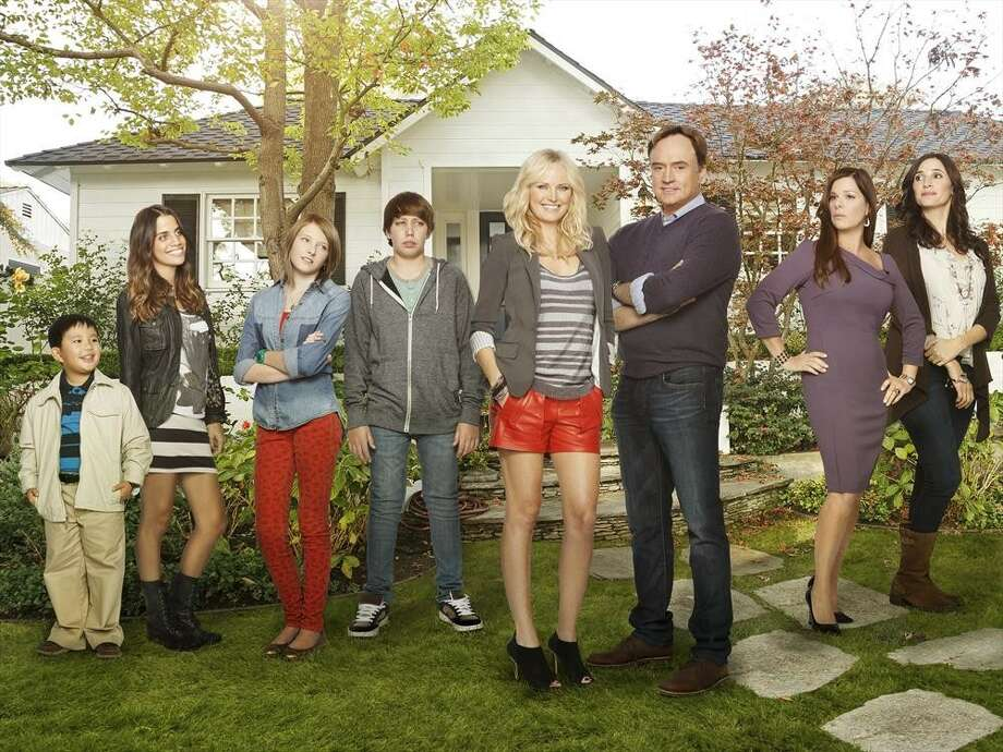 """TROPHY WIFE - """"Trophy Wife"""" stars Malin Akerman (""""Suburgatory"""") as Kate, Bradley Whitford (""""The West Wing"""") as Pete, Marcia Gay Harden (""""Into the Wild,"""" """"Damages"""") as Diane, Michaela Watkins (""""Saturday Night Live"""") as Jackie, Natalie Morales (""""90210"""") as Meg, Ryan Scott Lee (""""Super 8"""") as Warren, Albert Tsai (""""How I Met Your Mother"""") as Bert and Gianna LePera (""""Modern Family"""") as Hillary. """"Trophy Wife"""" is written and executive-produced by Emily Halpern & Sarah Haskins, executive produced by Lee Eisenberg & Gene Stupnitsky (""""The Office""""), produced by Malin Ackerman. The pilot was directed by Jason Moore (""""Pitch Perfect,"""" """"Avenue Q""""). """"Trophy Wife"""" is from ABC Studios. (ABC/Craig Sjodin) ALBERT TSAI, NATALIE MORALES, GIANNA LEPERA, RYAN SCOTT LEE, MALIN AKERMAN, BRADLEY WHITFORD, MARCIA GAY HARDEN, MICHAELA WATKINS Photo: Craig Sjodin, ABC / © 2013 American Broadcasting Companies, Inc. All rights reserved."""