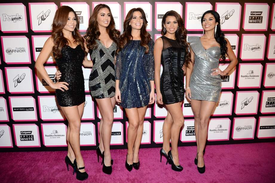 "Finalists from ""Nuestra Belleza Latina"" Marina Ruiz, Barbara Turbay, Viviana Ortiz, Marisela Demontecristo, and Audris Rijo attend People En Espanol's 50 Most Beautiful 2013 at Marquee on May 13 in New York City.  (Photo by Dimitrios Kambouris/Getty Images for People en Espanol)"