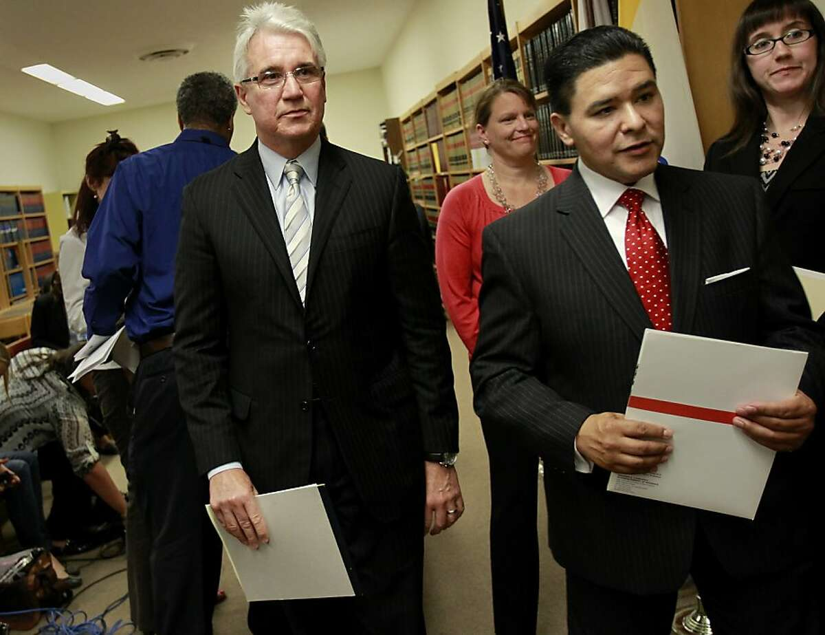 After announcing the charges, D.A. George Gascon (left), Board president Rachel Norton, Superintendent Richard A. Carranza, and prosecutor Kelly Burke (right) left the room Tuesday May 14, 2013. Felony charges have been brought against six former and current San Francisco Unified School District employees in a multi-million dollar scheme to wrongfully divert public money.