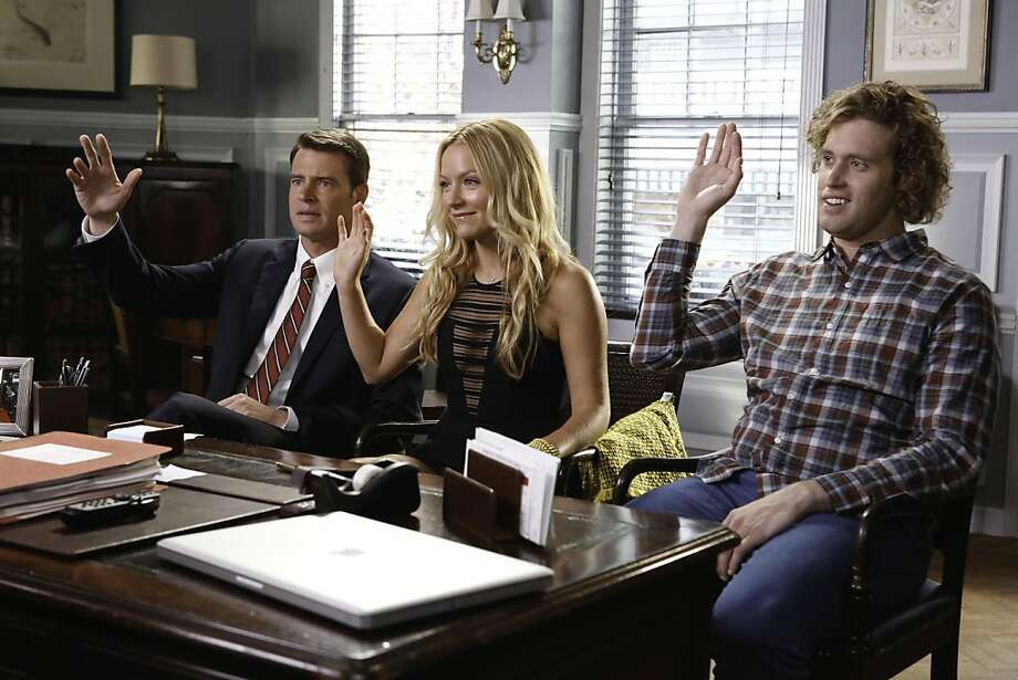"""""""The Goodwin Games"""" features Scott Foley as Henry (left), Becki Newton as Chloe and T.J. Miller as Jimmy as three competitive siblings. Photo: Jordin Althaus, Fox"""