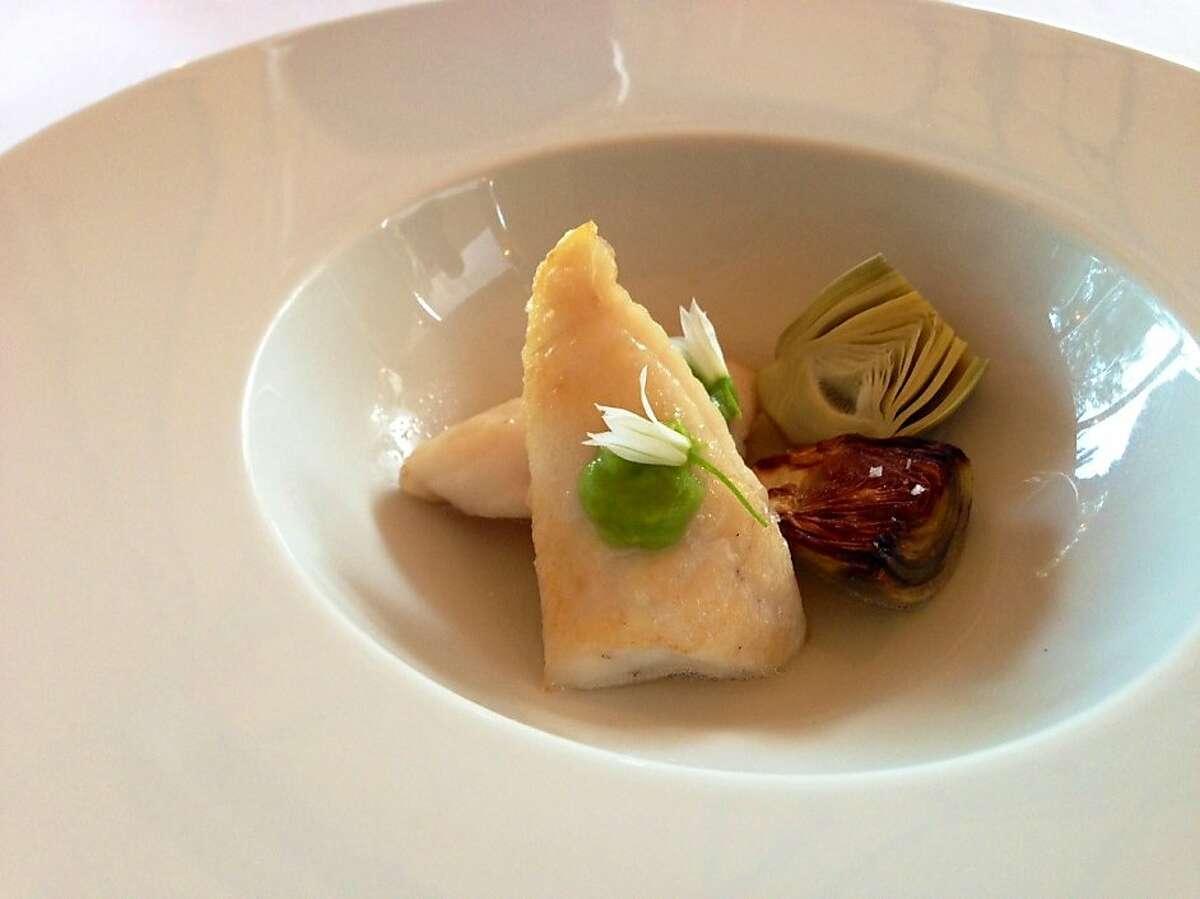 John Dory dish at Madrona Manor in Healdsburg: John Dory filets, smoked artichokes, green garlic, kombu broth.