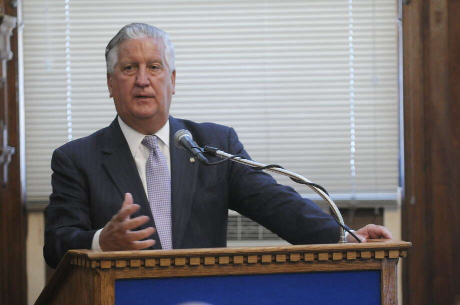 Mayor Jerry Jennings addresses those gathered during a press conference at Albany City Hall on Tuesday, May 7. Jennings, 64, Albany's second longest serving mayor, announced Tuesday he will not run for re-election this fall. (Paul Buckowski / Times Union)